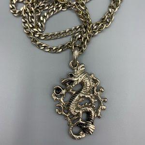 Silver Japanese Dragon Biker Chain Necklace